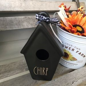 Rae Dunn CHIRP bird house black